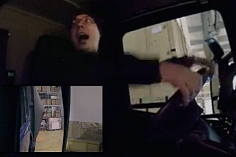 Her ser sjåføren et villdyr i lasten