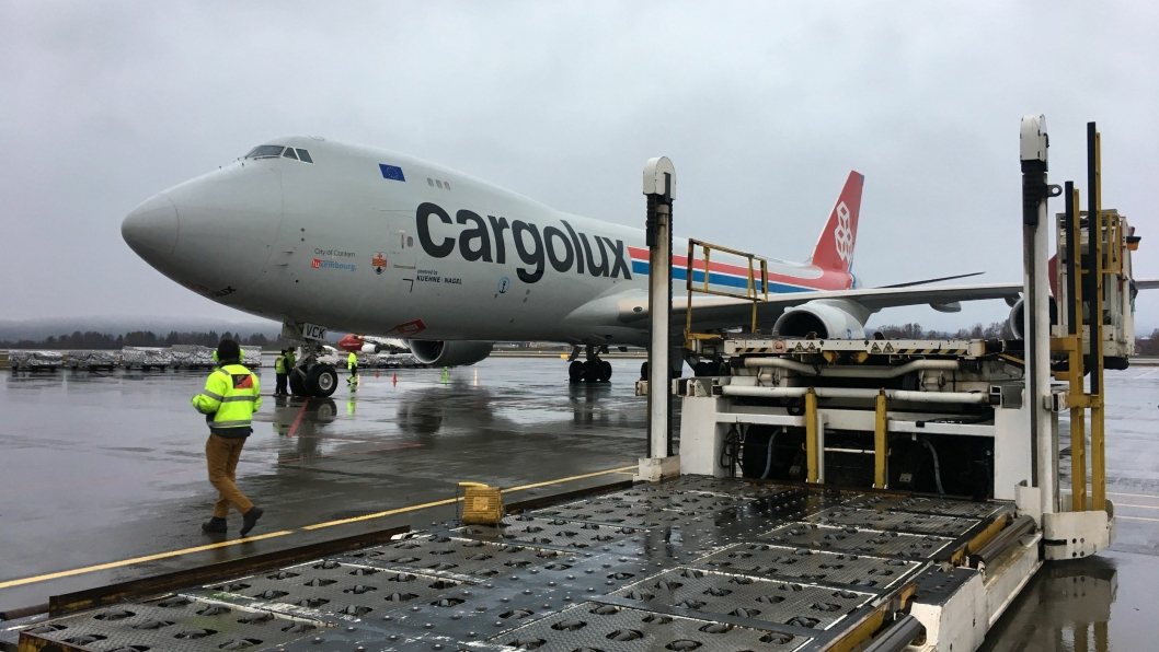 Cargolux på plass på Gardermoen.