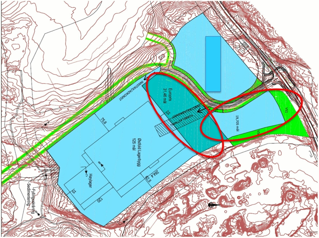 GODE NABOER: Europris' nye sentrallager kommer på samme område som innlandshavnen, langs fylkesveg 120 like øst for Mosseporten.