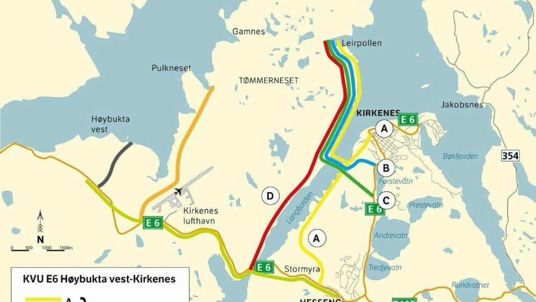 Høybukta vest-alternativet er anbefalt, og ligger noen kilometer vest for dagens havn og selve Kirkenes by.