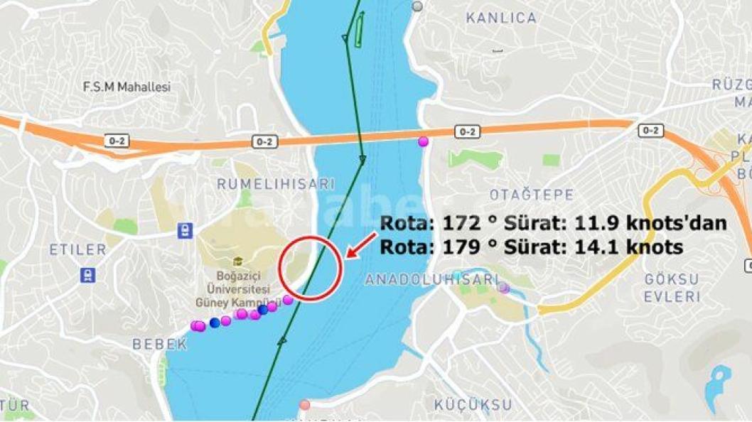 Litt etter den første hendelsen viser kartet fra Marine Traffic at skipet igjen var nær ved å treffe land.