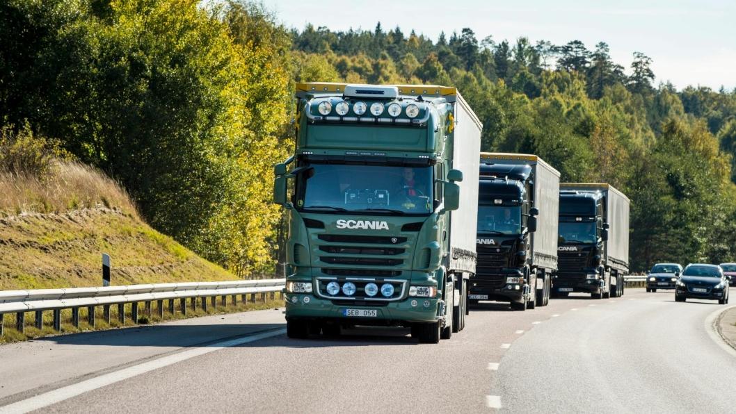 Scania jobber videre med teknologi for platooning. Her fra tester i Södertälje.