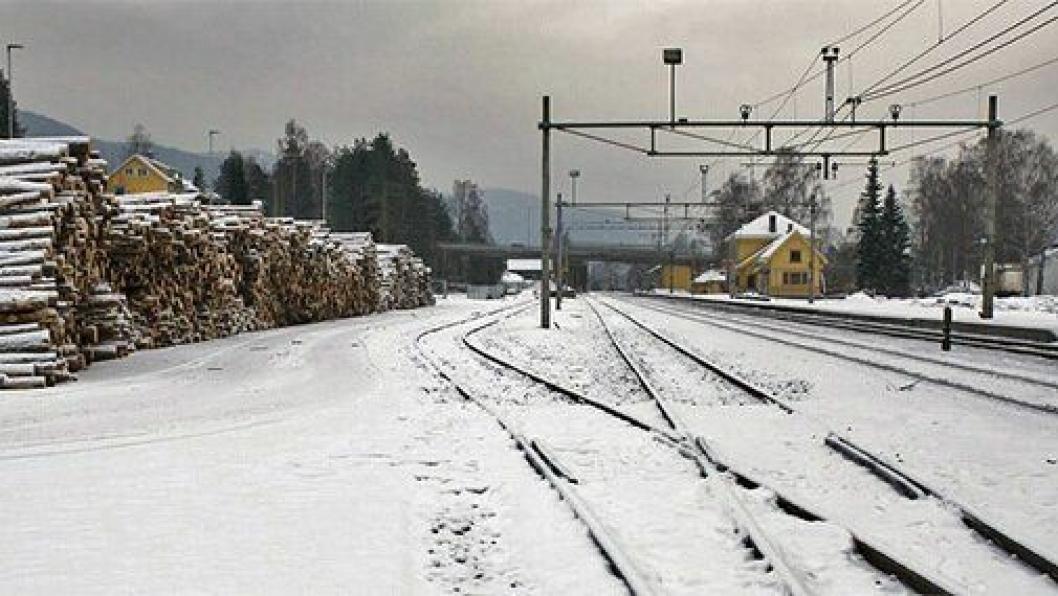 tømmerterminalen på Nesbyen er rustet opp til beredskapsterminal for gods. Foto: Bane NOR