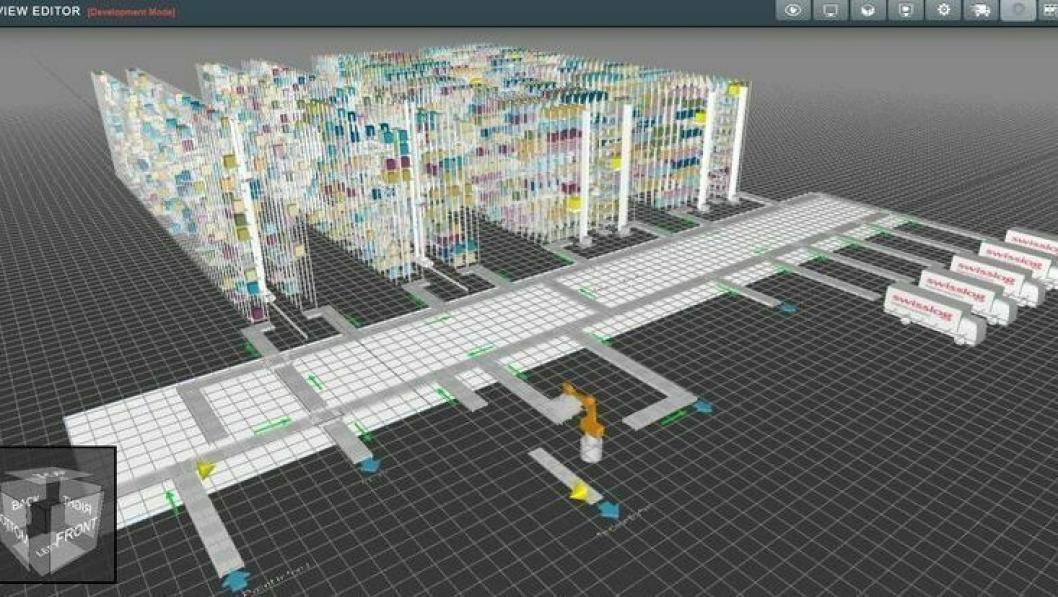 Swisslog SynQ 3D-visualisering.
