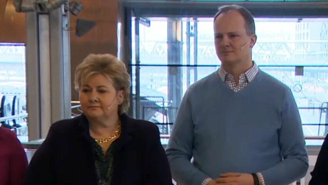 Statsminister Erna Solberg og samferdselsminister Ketil Solvik-Olsen presenterte detaljer fra NTB sammen med samarbeidspartiene torsdag morgen.