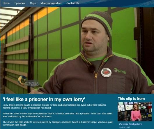 Rumenske Emilian er sjåfør for Bring Trucking, Brings slovakiske datterselskap. Faksimile: BBC