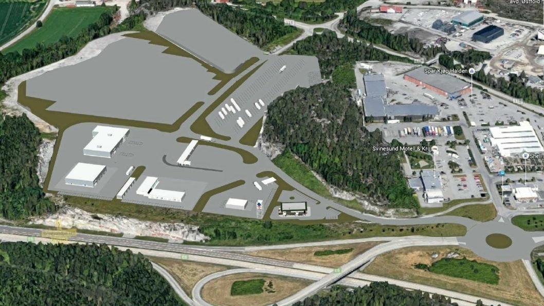 Svinesund Transportsenter tar form.(Ill. Fredriksten Utvikling AS)