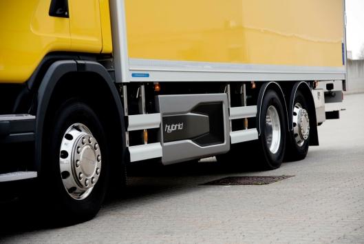Scania G340 Hybrid - 3 akslet skapbil med kombinasjonen mellom elektrisk og dieselmotor.