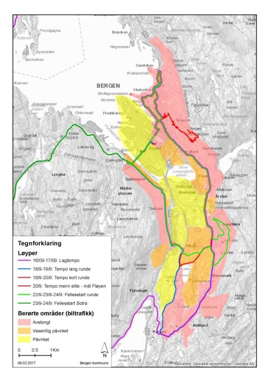 De røde områdene på dette kartet blir avstengt mellom 08.30 og 19.00 under sykkel-VM. I sentrum er Christies gate, Småstrandgaten, Torget, Bryggen og Lars Hilles gate mellom Strømgaten og Christies gate avstengt døgnet rundt. De oransje vil bli vesentlig påvirket. De gule områdene blir påvirket i den grad at bilkjøring frarådes.