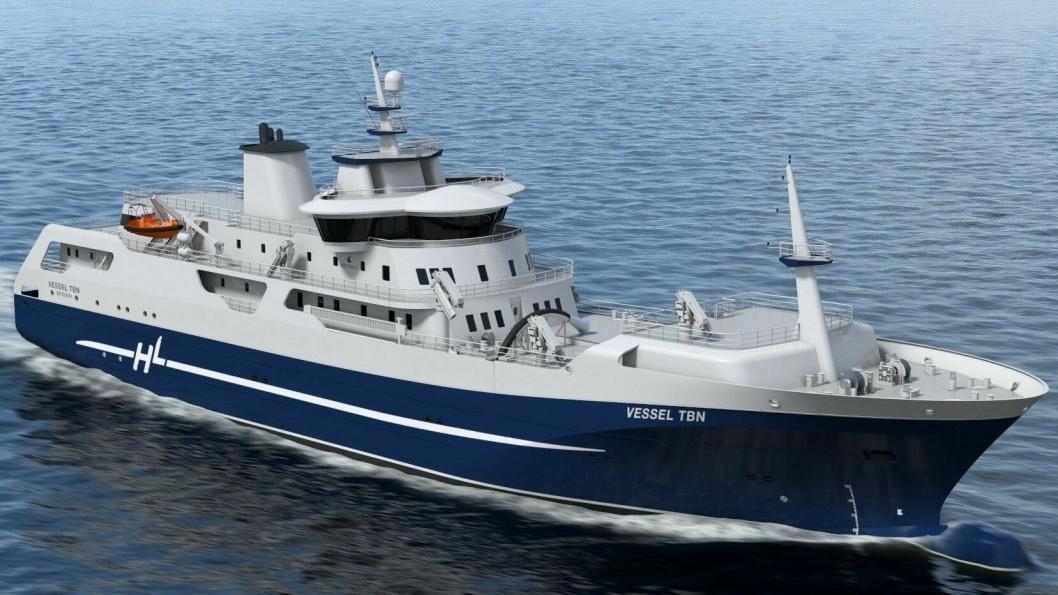Med 14 sløyemaskiner om bord, kan slakteskipet sløye 350 fisk per minutt.