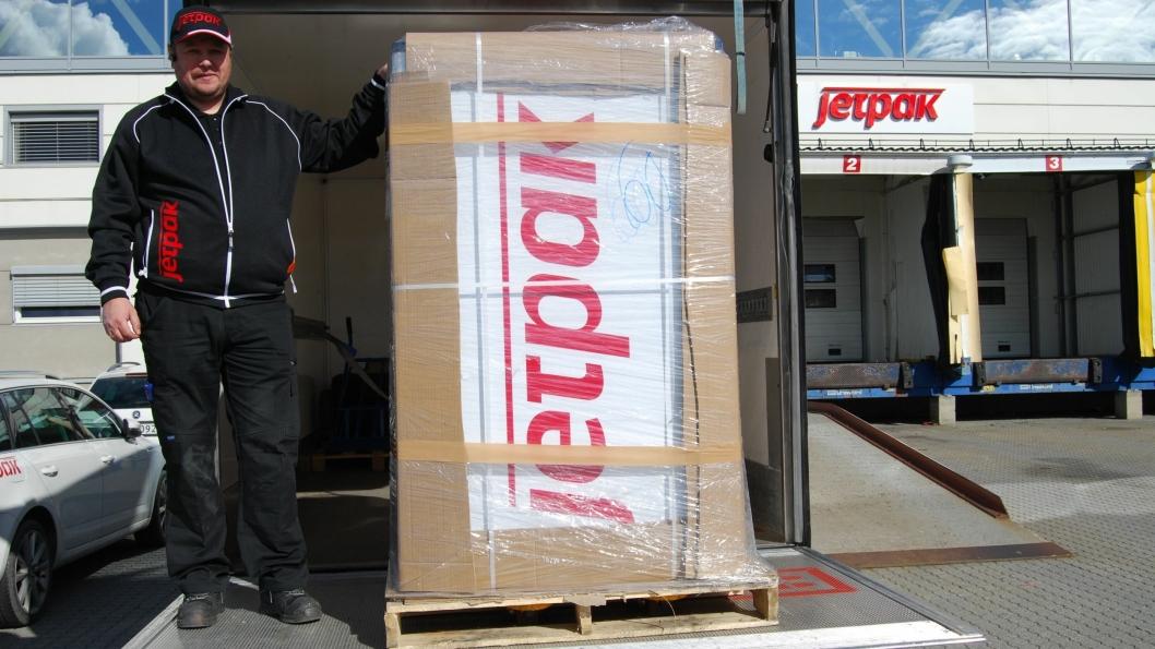 Denne pakken inneholder en spesialbygget sykkel som Jetpak skal bruke i Bergen neste uke.