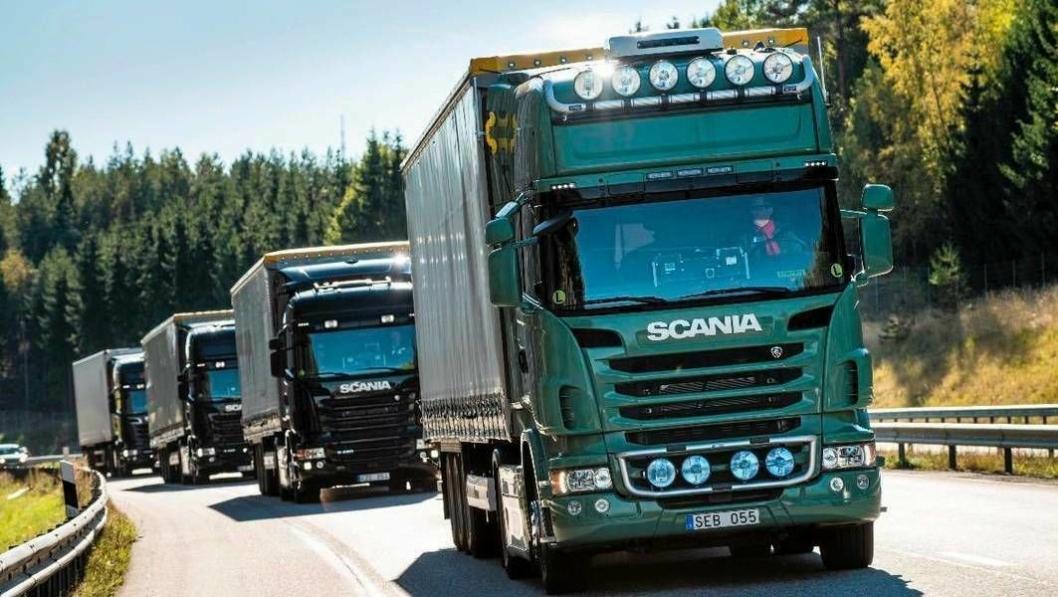 Platooning gjennom Europa i lastebiler fra Scania.