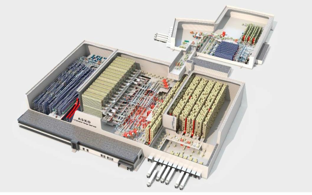 ROBOTER: Det er imponerende dimensjoner på det automatiske anlegget i det nye kjølelageret.