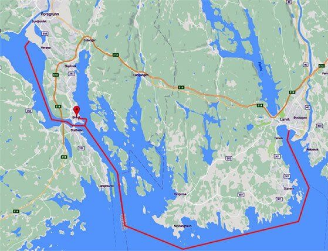 Yara Birkeland skal gå mellom Yaras fabrikk på Herøya og havnene i Larvik og Brevik.