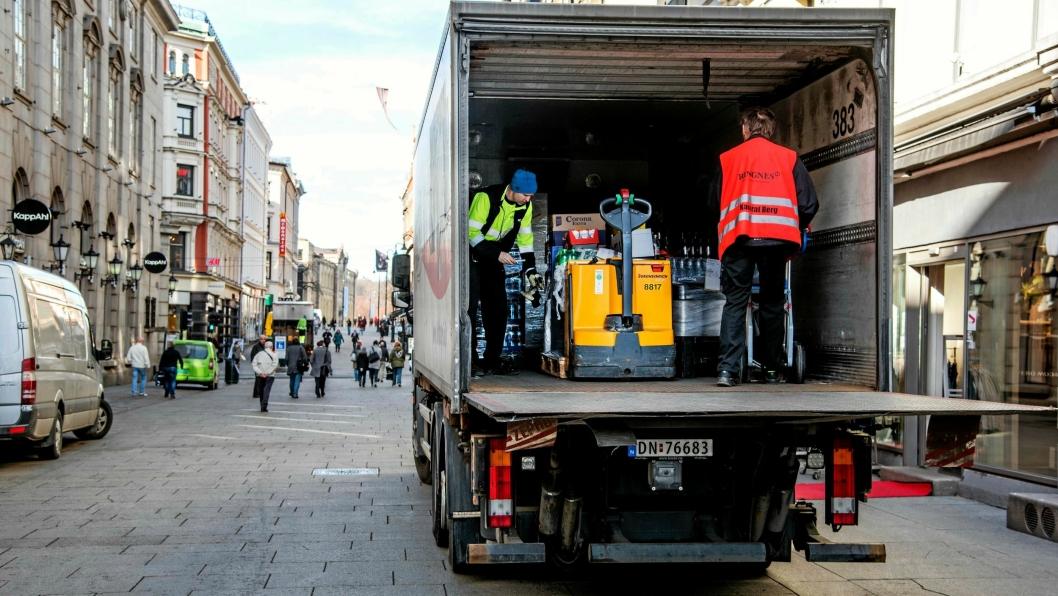Vanskelige kår for distribusjonskjøring i de store byene. Her fra Karl Joans gate og områdene rundt i Oslo sentrum.