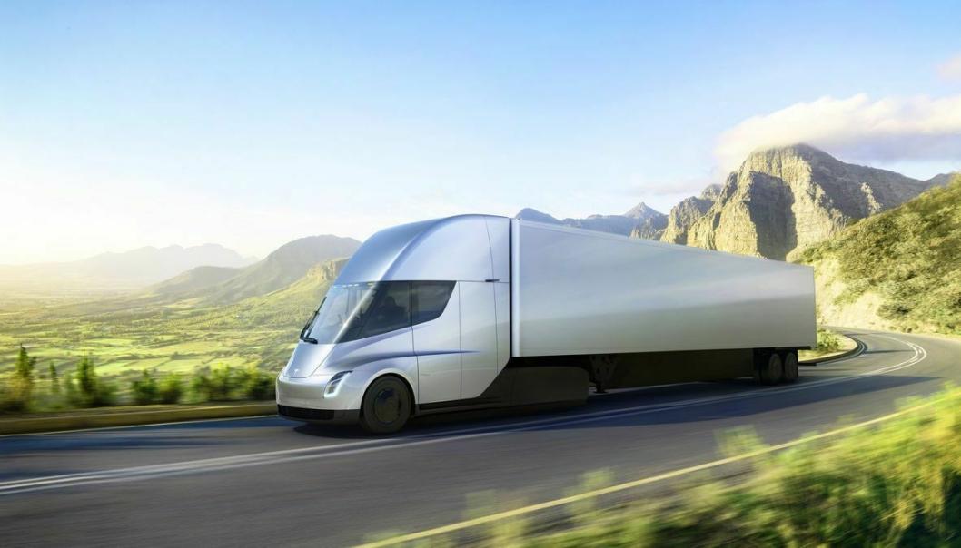 """Tesla Semi ser omtrent ut som forventet - futuristisk, aerodynamisk og """"glatt""""."""