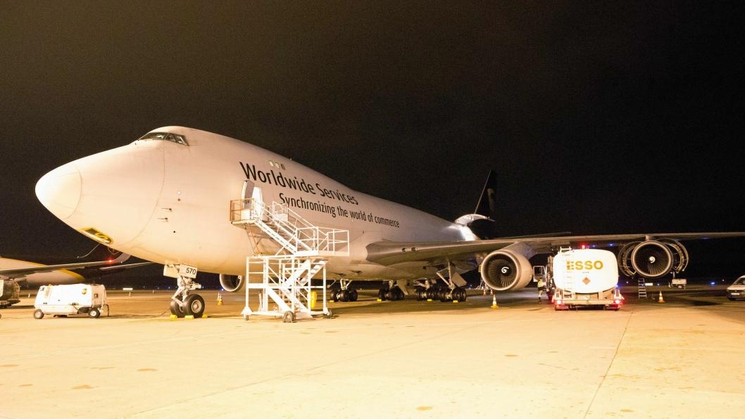 En Boeing 747 ved UPS Europa-hub i Køln.
