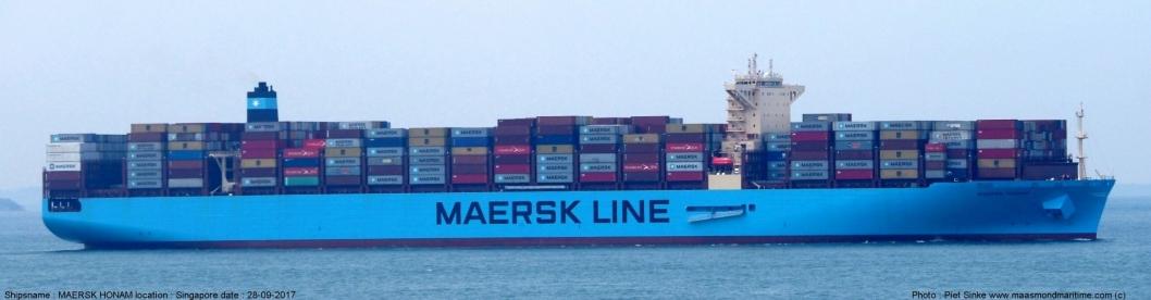 Maersk Honam er 353 meter langt og 53,5 meter bredt og er bygget i 2017. Lasten består av 7860 containere , som har en kapasitet på 15.262 TEU.