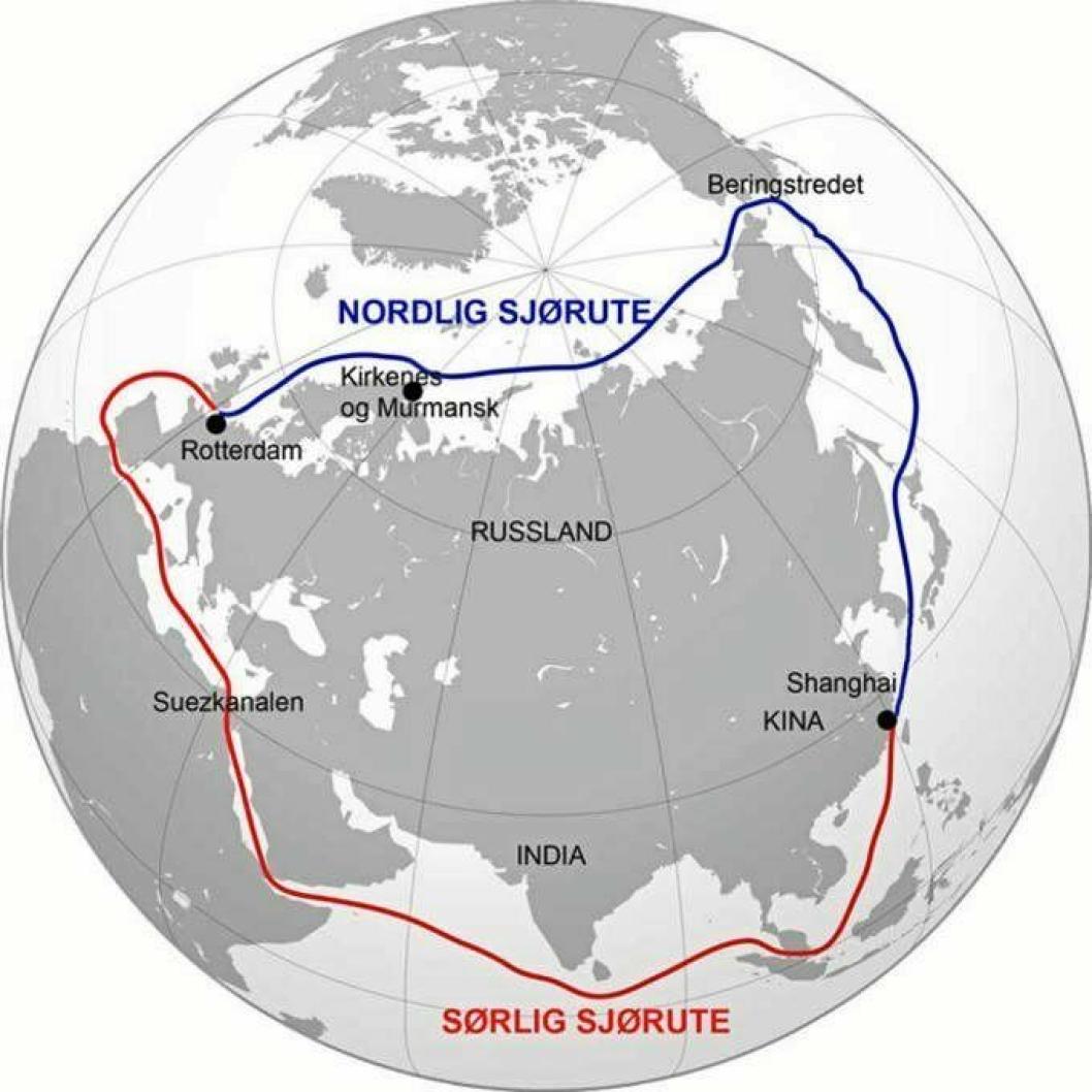 Via NSR sparer man rundt 1/3 av reiseveien mellom Asia og Europa.