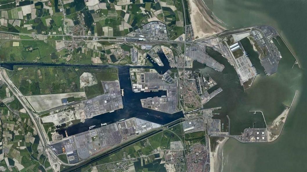 Oversiktsfoto  av Zeebrugge havn i Belgia. Foto: Port of Zeebrugge