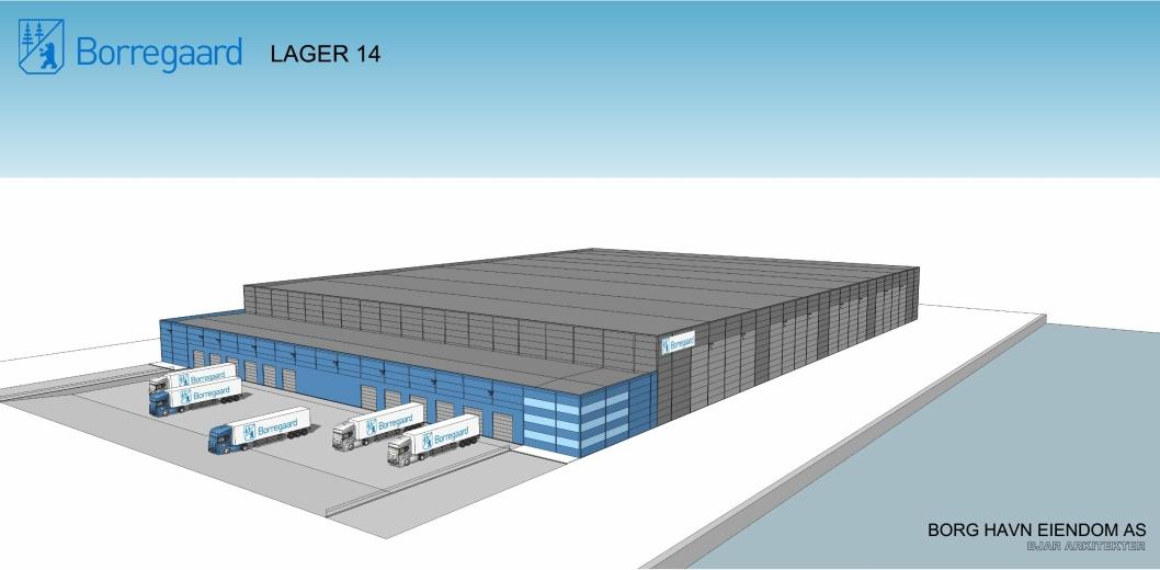 PLANEN: Borregaards lager på Øraterminalen i Fredrikstad vil kunne stå ferdig i 2019. Illustrasjon: Bjar Arkitekter.