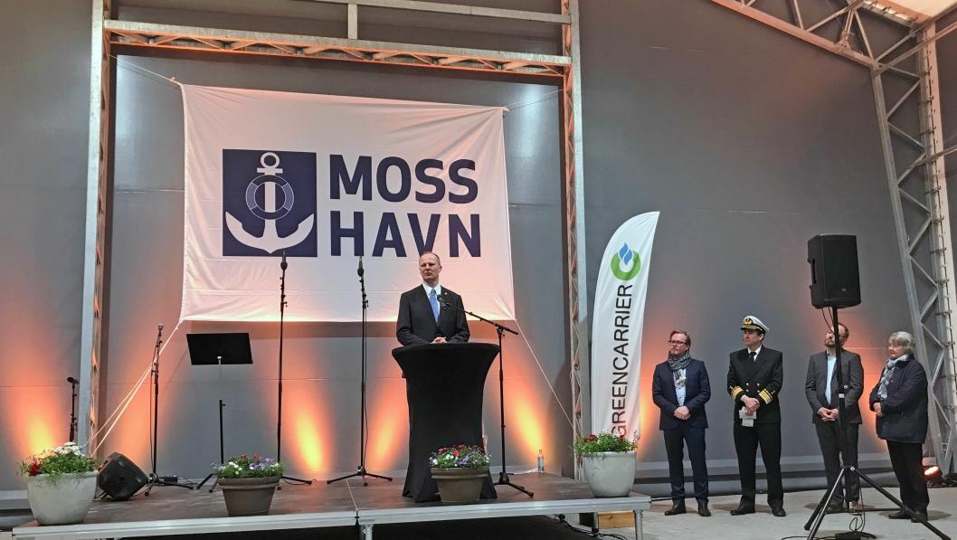 Moss Innlandshavn ble åpnet av samferdselsminister Ketil Solvik-Olsen fredag 27. april. Foto: Moss Havn.