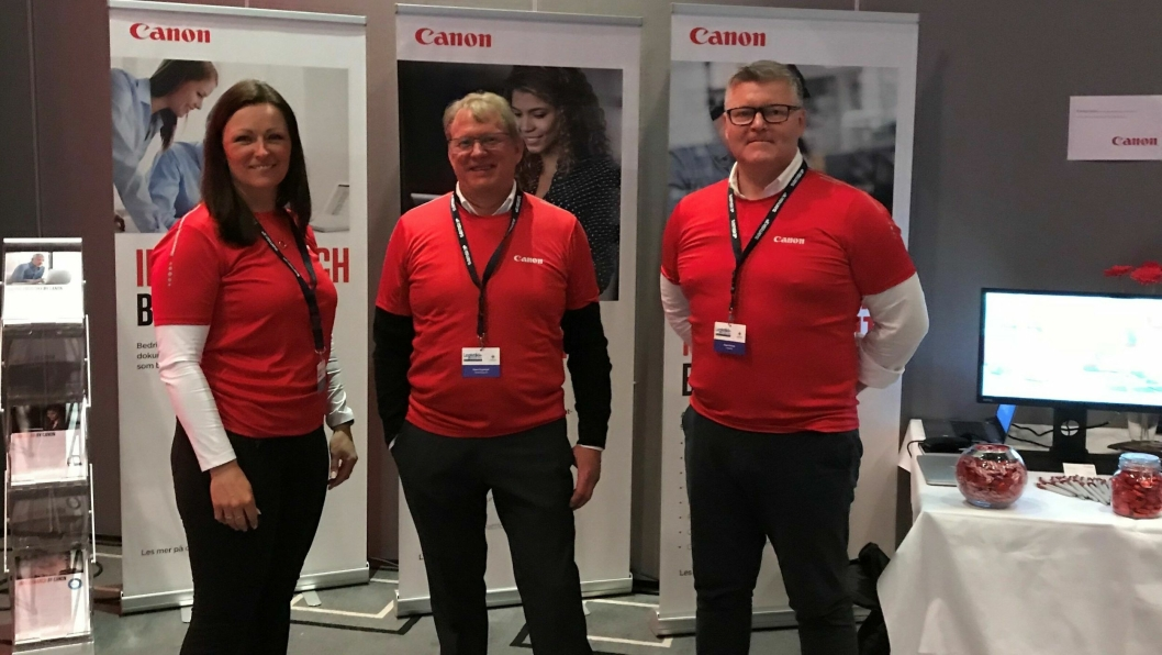 Canon-team (f.v.): Hege Breivik, Espen Engelstad og Roger Holand på Logistikkdagen i Sarpsborg.
