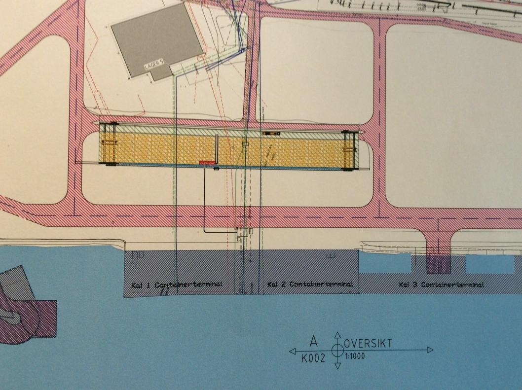 Det gule feltet indikerer kranbanen til RTG-kranene i Borg Havn