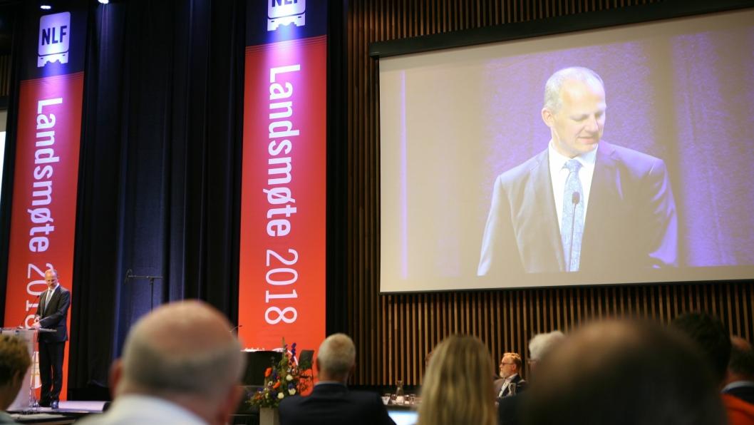 Samferdselsminister Ketil Solvik-Olsen er sterkt uenig med lastebileierne om undersjøiske tunneler. Her er samferdselsministeren på NLF Landsmøte 2018. Foto: Per Dagfinn Wolden