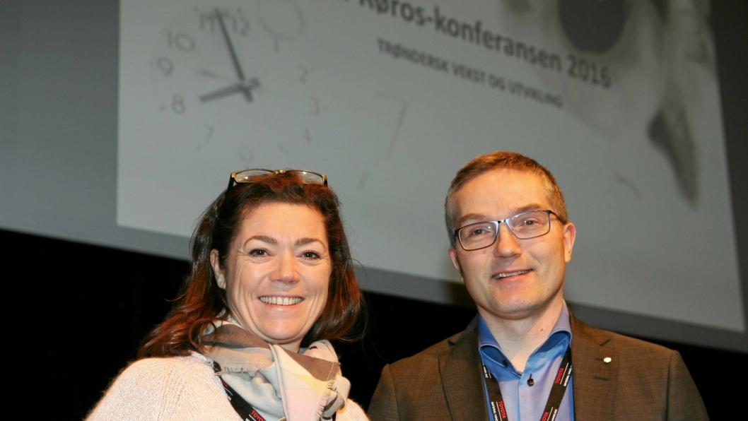 Lars Inge Fenes, her med NHO-leder Kristin Skogen Lund, er het kandidat til å overta ledervervet i Logistikkforeningen etter Robert Skaugrud. Foto: Per Dagfinn Wolden