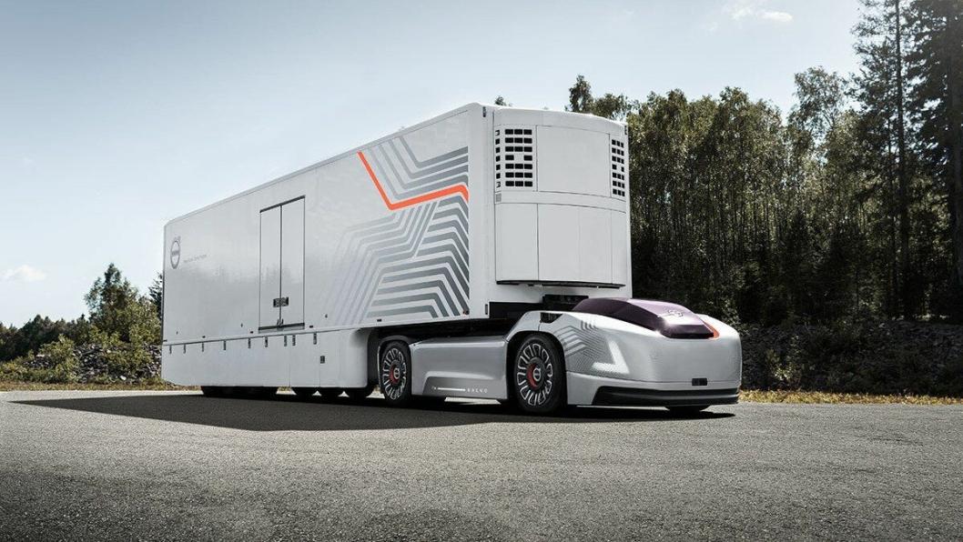 Skisse til nytt selvkjørende vogntog fra Volvo Trucks som skal realiseres i nær fremtid og styres fra skyen.