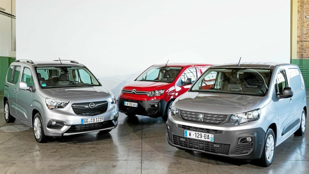 TRE BILER, EN PRIS: Fra venstre: Opel Combo, Citrioën Berlingo og Peugeot Partner.