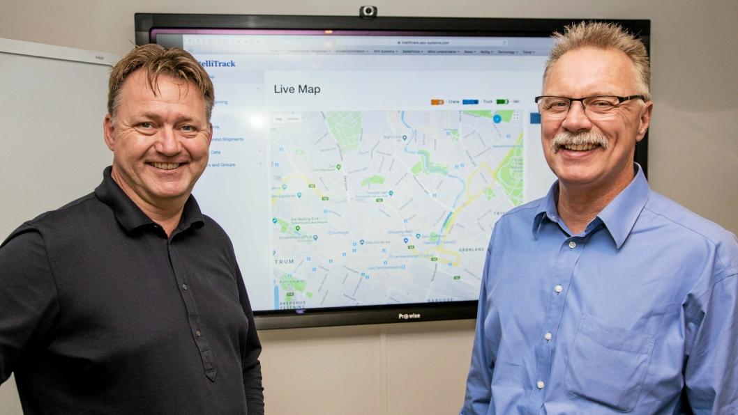I RUTE: Markedssjef Morten Skinnarmo (til venstre) og salgssjef Hjalmar Wiik i APX Systems gleder seg til å få IntelliTrack ut i markedet.