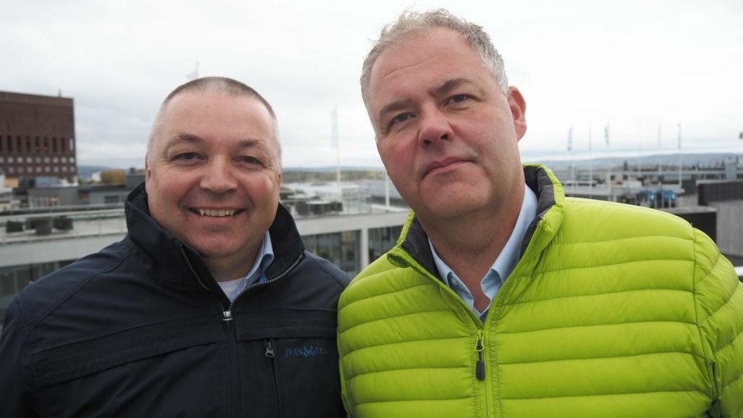 Kjell-Olav Gammelsæter (t.v.) og Arnt-Einar Litsheim, i henholdsvis KS Bedrift Havn og Norske Havner. Foto: Norske Havner/KS Bedrift Havn.