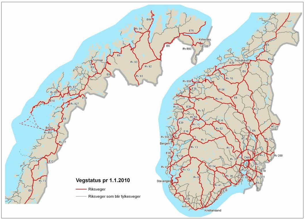 SMULER IGJEN: Kartet viser det gjenstående riksvegnettet på 10 000 km etter at det meste av riksvegnettet ble overført til fylkene (grå linjer)