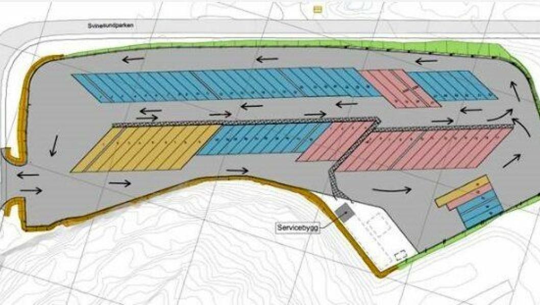 Plantegning av den nye døgnhvileplassen i Svinesundparken, med 77 oppstillingsplasser.
