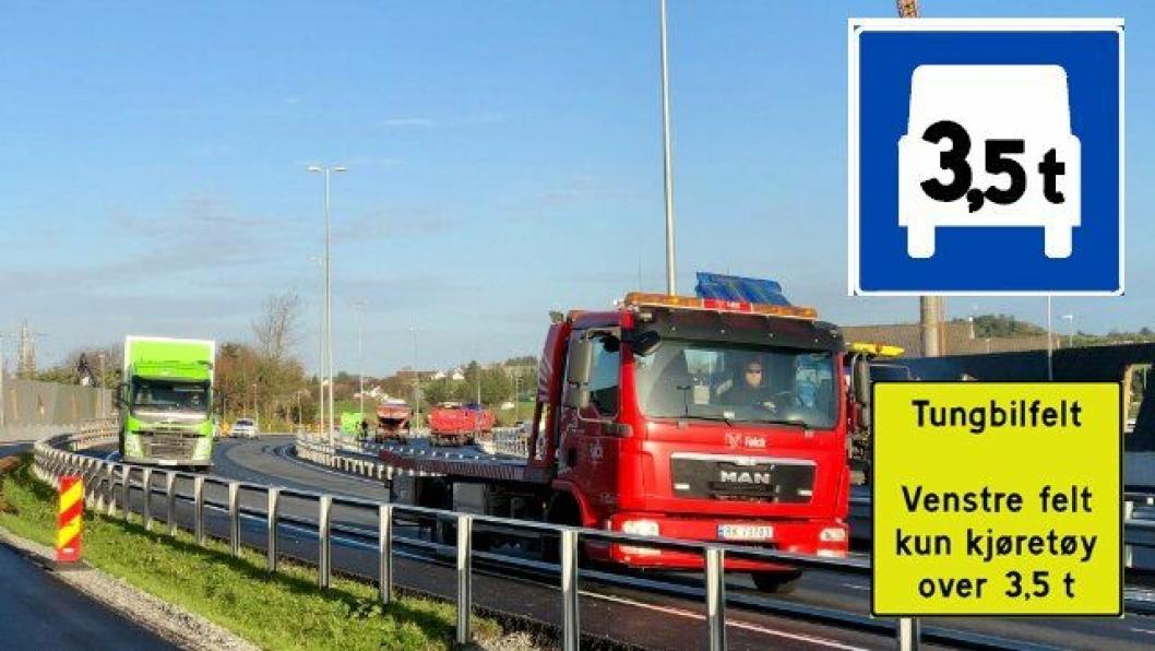 Det nye norske veiskiltet har blå bakgrunn og et kjøretøy som viser at kjøretøy over 3,5 tonn kan bruke kjørefeltet. Det gule skiltet gjør det enklere å forstå det nye blå skiltet.Det tas først i bruk på Sola i Rogaland (9. november 2018).