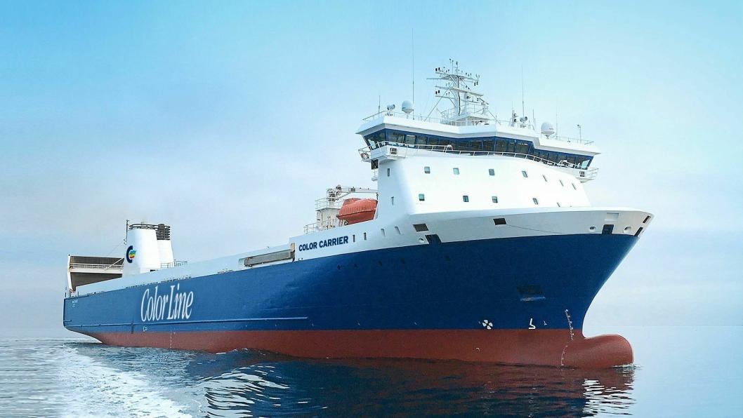 SKAL GÅ OSLO-KIEL: Color Carrier het tidligere Finncarrier, og er Color Lines nye godsskip.