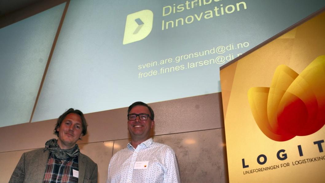 CTO Frode Finnes Larsen (t.v.) og seniorutvikler Svein Are Grønsund i Distribution Innovation innledet på Logitas-seminaret «Logistikk for fremtiden» i Trondheim nylig. Foto: Per Dagfinn Wolden