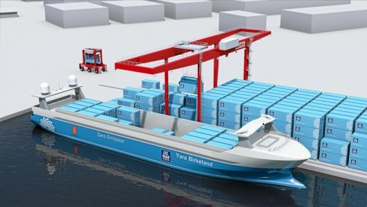 Tegning Yara Birkeland ved kai på Herøya, der containere lastes og losses automatisk om bord i det autonome skipet.
