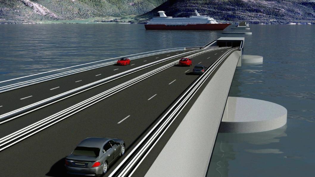 LUFTSLOTT: Fergefri E39 har vært på bordet i flere tiår. Det tar nok noen tiår til. Her fra et av forslagene til krysning av Sognefjorden. Ill: Sweco