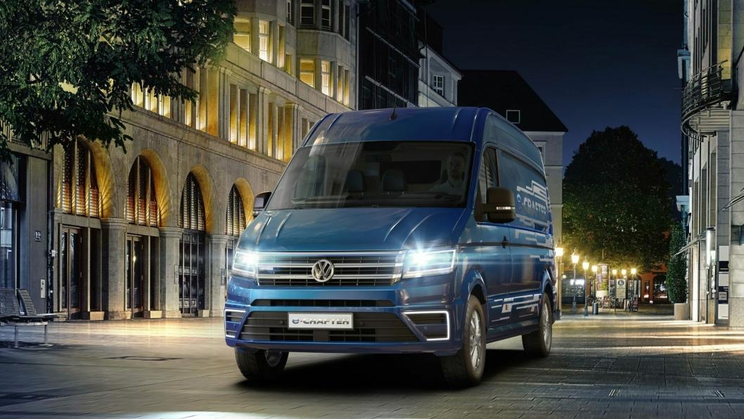 Illustrasjonsbilde til saken: Elektriske Volkswagen eCrafter er en ny varebil i det øvre vektsjiktet når det gjelder varebiler.