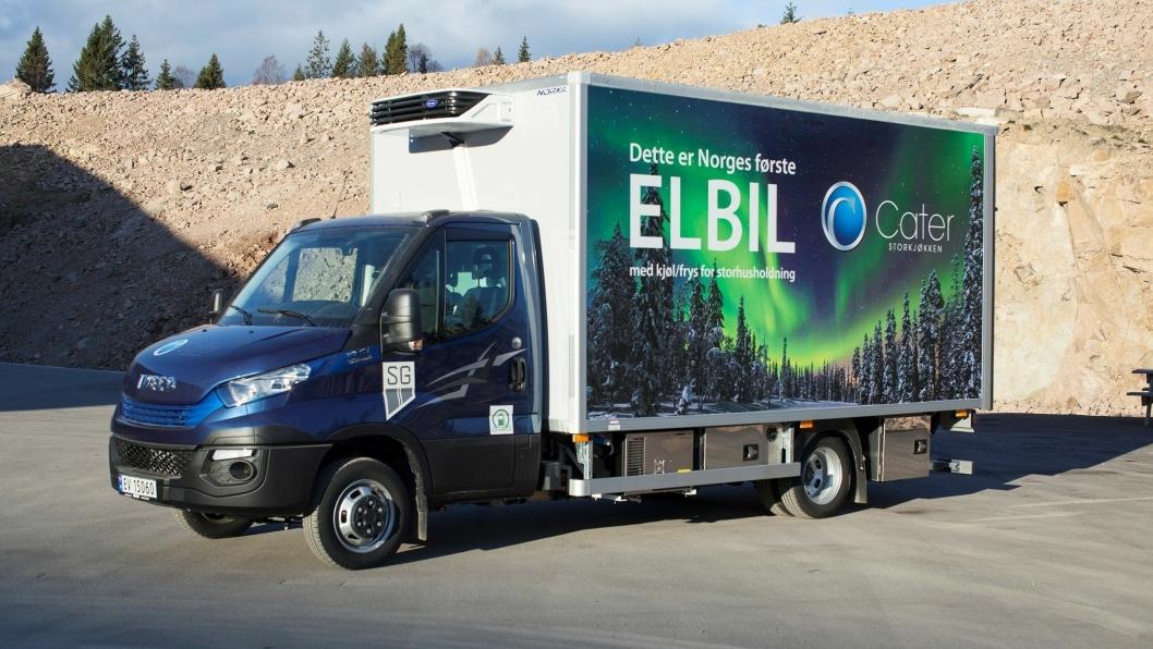 Iveco Daily Electric frys- og kjølebil som skal brukes av Cater Storkjøkken på strekningen Lier-Oslo.