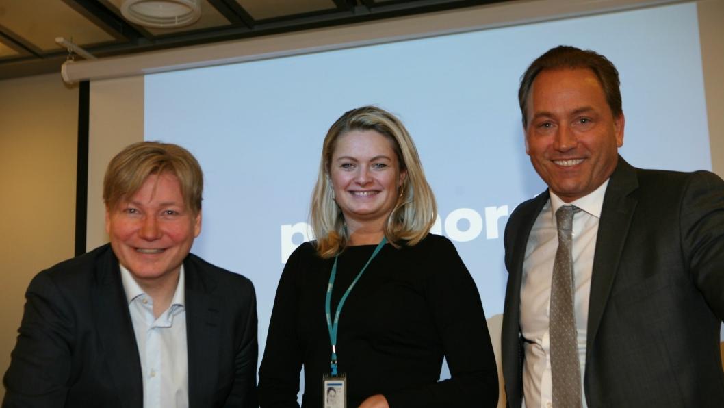 – Vi ruster oss for fremtiden forteller markeds- og kommunikasjonsdirektør Ole A. Hagen, e-handelsekspert Rikke Kyllenstjerna og PostNord-sjef Robin Olsen. Foto: Per Dagfinn Wolden