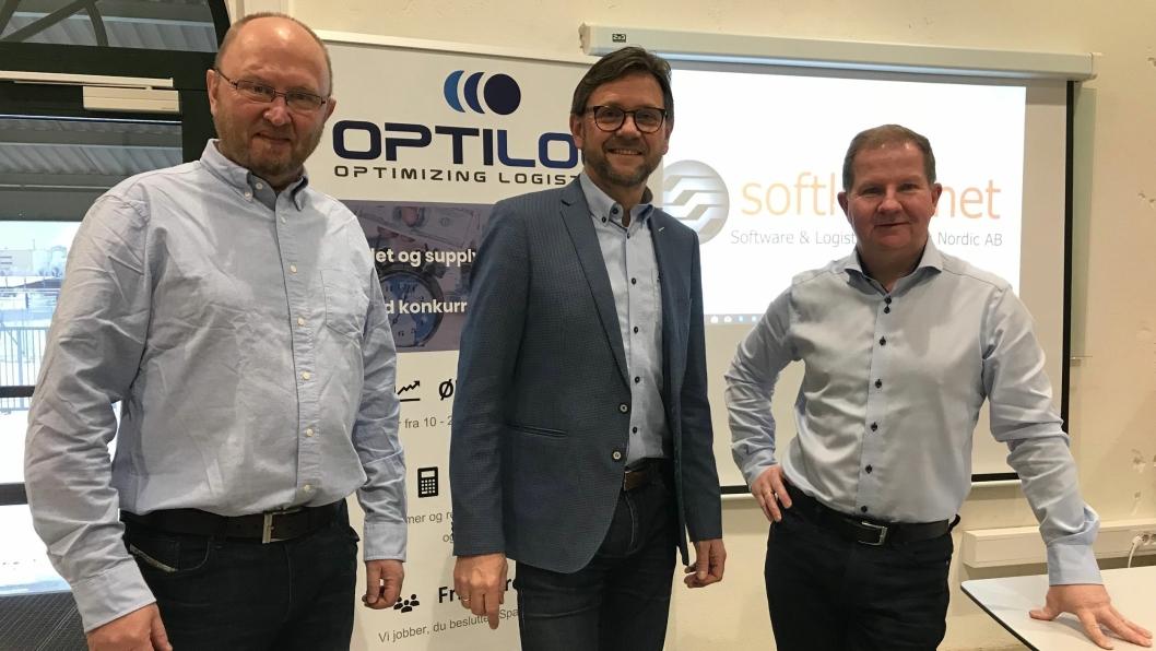 Har logistikknøkkelen. Fra venstre Øistein Solberg i Softlogs, Trond Iversen i Opti Log og Jon-Arild Ludvigsen i Softlogs.