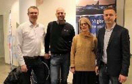 Fra venstre Klas Wassberg i GSGroup, Thomas Weingart og Lisa Lindholm i DB Schenker og konsulent Martin Laidla i Schenker IT)