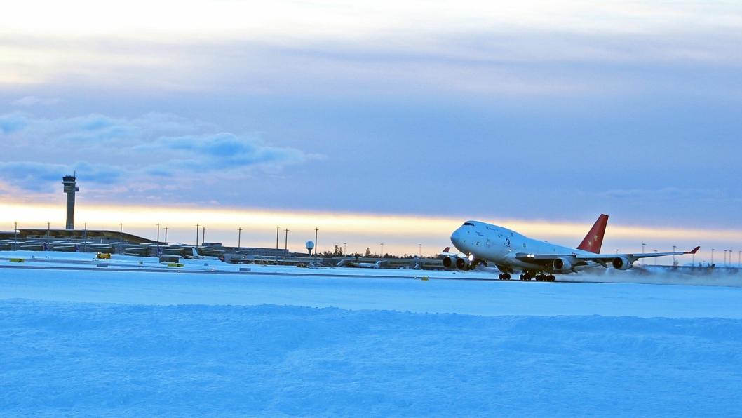 Air Cargo Global bruker en Boeing 747-400F på ruten mellom Oslo og Tianjin.
