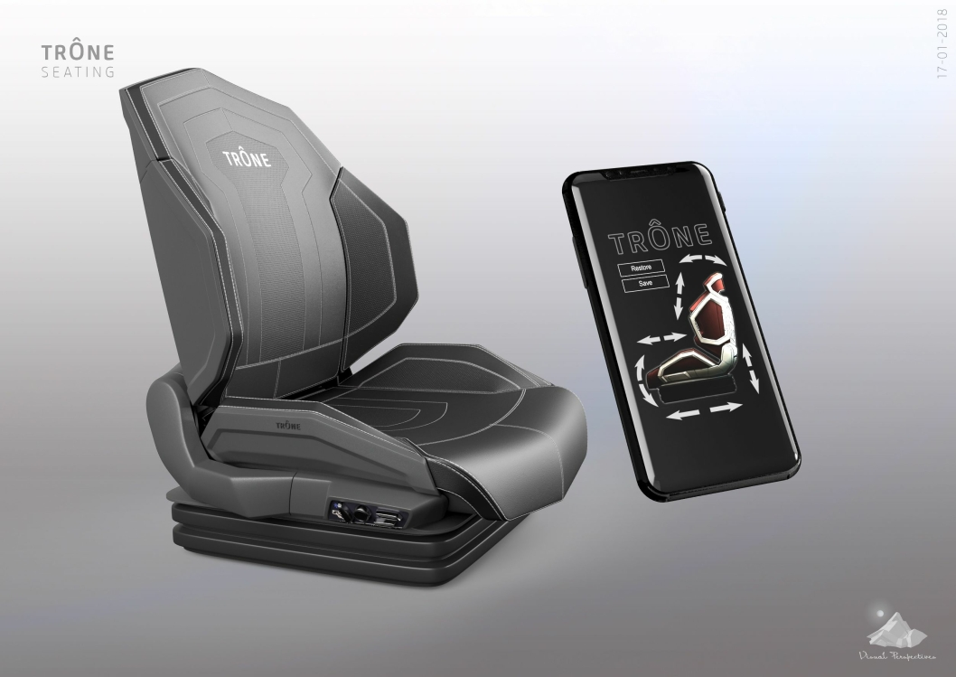 Trône er et ergonomisk trucksete, som automatisk stiller seg inn etter ulike brukere med opptil fem motorer.