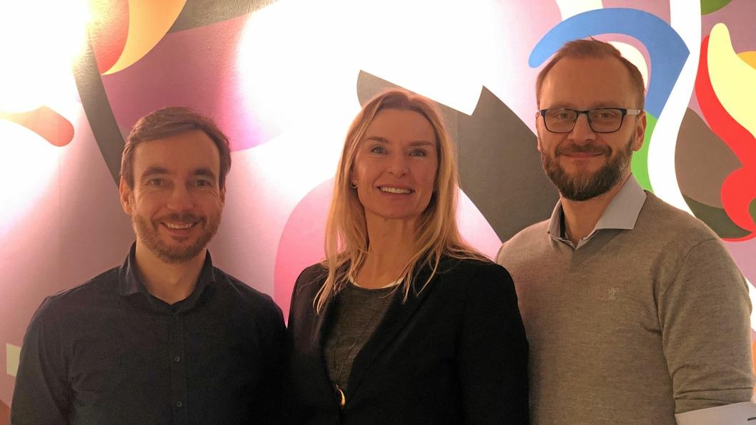 I DRIWs nye lokaler i Kvadraturen (Tollbugate 8a og b, Oslo) finner vi (f.v.) Oven Lien, Key Account Manager, Kari Bente Skarbø, leder for Oslo-avdelingen og Steffen Larvoll, markedsutvikler.