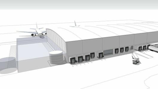 Slik skal den nye terminalen, som blir verdens største i sitt slag, se ut når den etter planen skal stå ferdig i 2021.